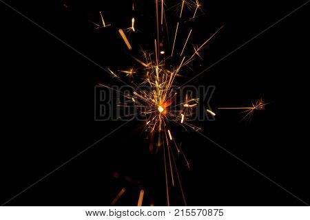 Burning Bengal Fire On A Black Background. Christmas, New Year Sparkle Fire. Festive Background, Ben