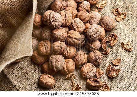 Lots of walnuts on craft loft cloth