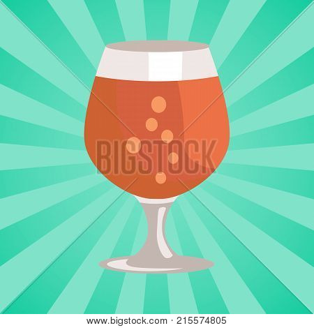 Snifter glass of beer in transparent glassware on abstract background with rays vector. Dark alcohol beverage, symbol of Oktoberfest in cartoon style