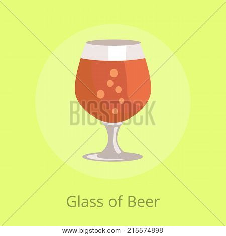 Glass of beers snifter in transparent glassware vector illustration isolated on yellow. Dark alcohol beverage, symbol of Oktoberfest fest in cartoon style