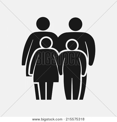 Overweight family icon. Fat woman man girl and boy. Vector illustration. Eps 10.
