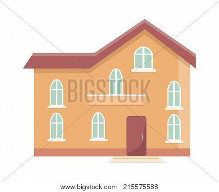 Three storey building with oval windows and front door vector illustration isolated on white background. Brown home, residential dwelling in flat style