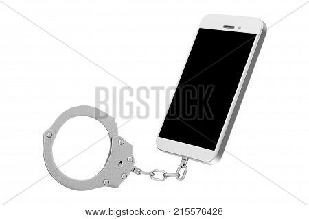 Mobile Phone Chained to Metal Handcuffs on a white background. 3d Rendering