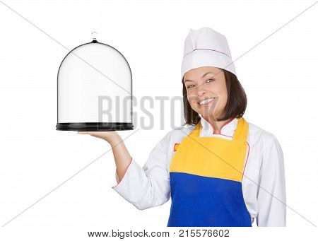 Beautiful Young Woman Chef with Glass Covered Tray on a white background