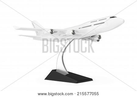 White Jet Passenger's Сommercial Airplane Model on a white background. 3d Rendering