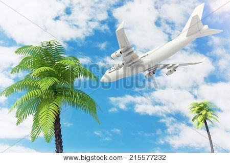 White Jet Passenger's Airplane Flying over Tropical Palm Trees on Blue Sky Background. 3d Rendering.