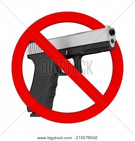 No weapons concept. Powerful Metalic Police or Military Pistol Gun with Prohibition Sign on a white background. 3d Rendering