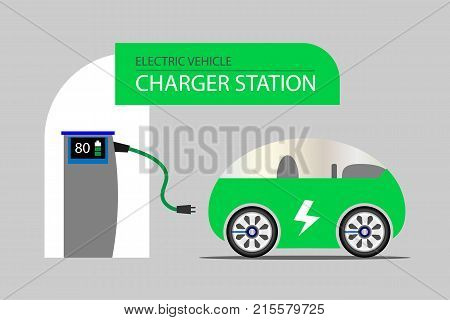 Vehicle electric charging station and a green electric car. Electric energy vehicle concept.  Vector illustration design. EPS10