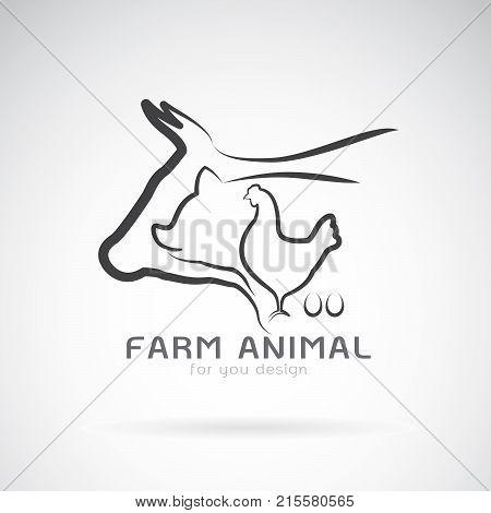 Vector group of animal farm label. Cowpigchickenegg. Logo Animal.