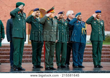 MOSCOW, RUSSIA - NOVEMBER 08, 2017: Group of commanding officers of the Ground Forces of the United Arab Emirates and the Land Forces of the Russian Federation.