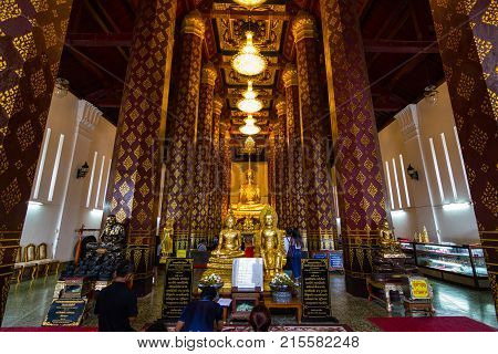 Gorgeous golden Buddhas at Ayutthaya of Thailand September 20, 2017: The Buddha has a long history of hundreds of years Location Ayutthaya of Thailand
