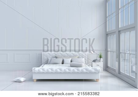 White bed room decorated with tree in glass vase, pillows, white blanket, Window, Sky, Lamp,White wall it is pattern, The sun shines through the window into the shadows,White floor. 3d rendering.