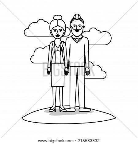 couple monochrome scene outdoor and her with blouse and jacket and skirt and heel shoes with collected hair and him with beard and sweater and pants and shoes with taper fade haircut vector illustration poster
