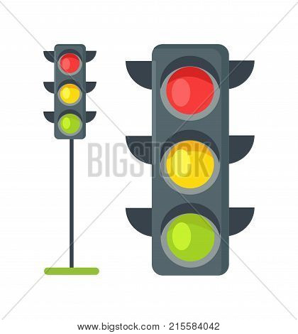 Icons depicting typical horizontal traffic signals with red light above green and yellow in between isolated vector illustration on white