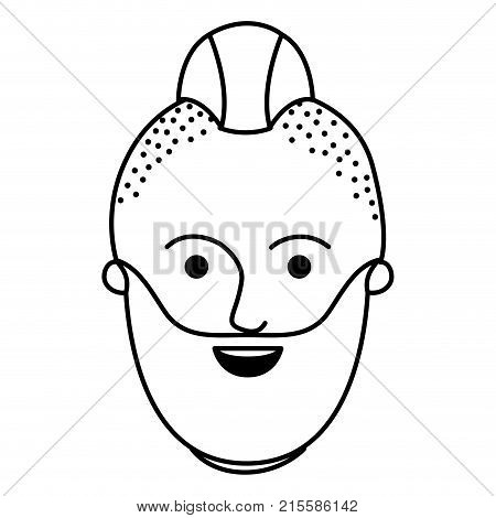 male face with taper fade haircut and beard in monochrome silhouette vector illustration