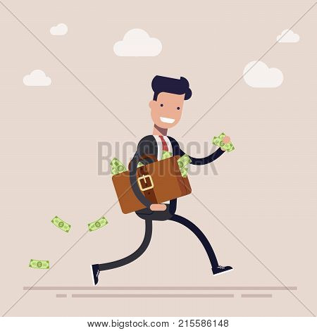 Happy businessman or manager is running with a suitcase full of money. The concept of theft or bribe. Cartoon vector illustration