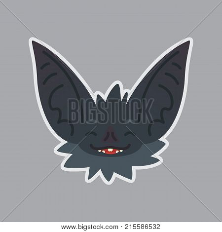 Bat sticker. Emoji. Vector illustration of cute Halloween bat vampire shows happy emotion. Isolated emoticon icon with sublayer. Bat-eared grey creature's snout. Print design. Badge.