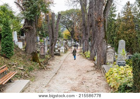 Sighisoara Romania October 08 2017 : An old cemetery located in the castle in Old City. Sighisoara city in Romania