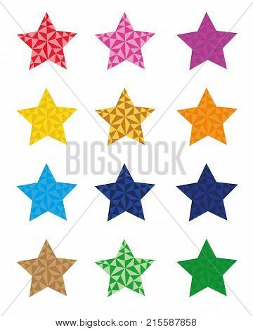12 colorful star icons, star isolated on white background. vector esp 10