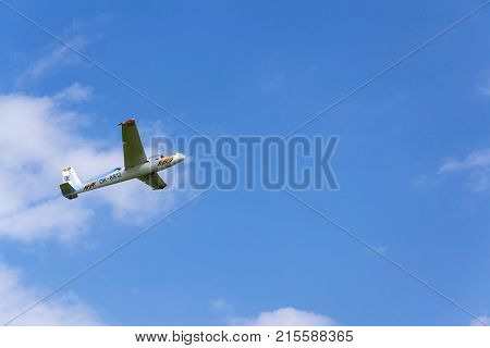 Plasy, Czech Republic - April 30: Aerobatic Two-seat All-metal Let L-13Ac Blanik Glider For Dual Aer