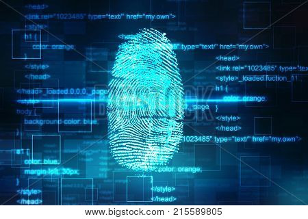 Security concept: fingerprint Scanning on digital screen, cyber security, security background. 3d render