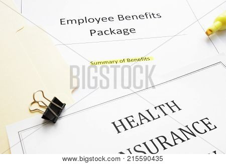 Employee Benefits package (summary of benefits) and health insurance document