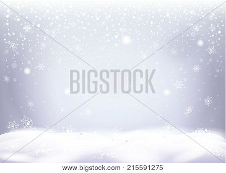 Realistic Christmas snowy landscape, snowfall, snowflakes falling, snow mountain, silver sparkles, white bokeh lights effect, shiny Winter Holiday background vector illustration.