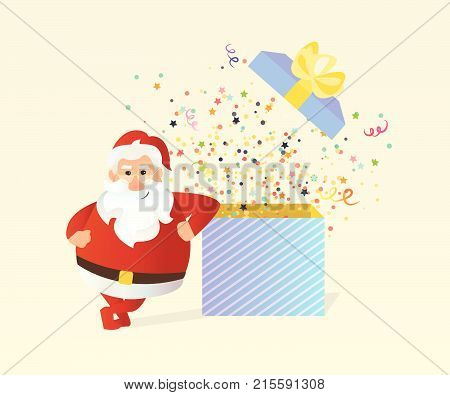 Santa claus standing near gift box with fireworks from confetti. -stock vector