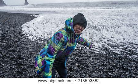 Asian Senior Woman Drean Trip Travel To Icealand, Black Beach