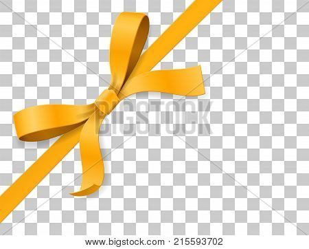 Gold, yellow bow knot and ribbon isolated on white background. Happy birthday, Christmas, New Year, Wedding, Valentine Day gift card or box package concept. Closeup Vector illustration 3d top view
