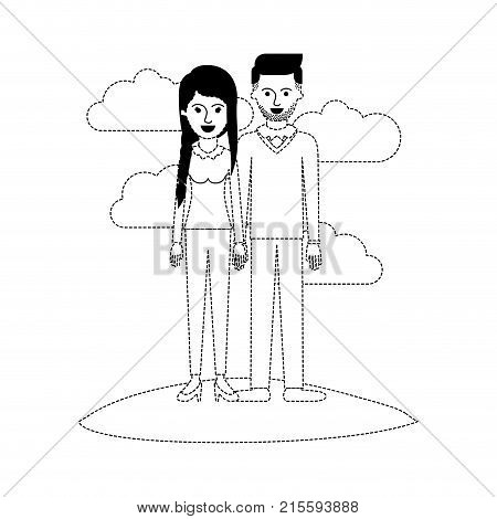 couple scene outdoor and her with blouse long sleeve and pants and heel shoes with braid and fringe hairstyle and him stubble beard and sweater and pants and shoes with side parted hairstyle in black dotted silhouette vector illustration