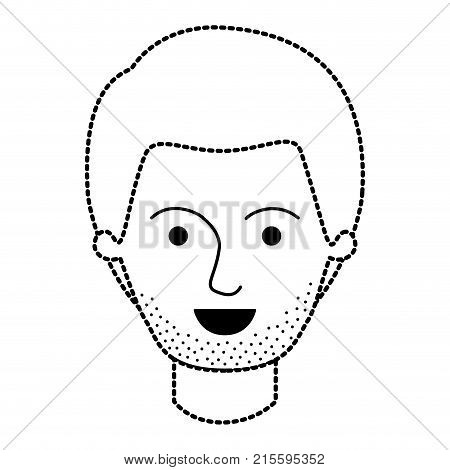 male face with short hair and stubble beard in black dotted silhouette vector illustration
