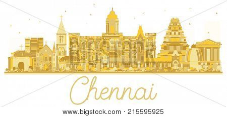Chennai India City skyline golden silhouette. Simple flat concept for tourism presentation, banner, placard or web site. Business travel concept.