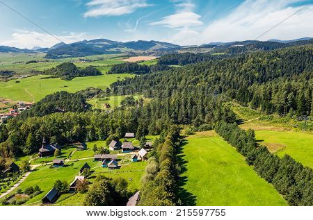 Slovakian Town On Forested Hillside In Summer