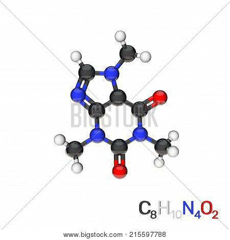 Caffeine model molecule. Isolated on white background. 3D rendering illustration.