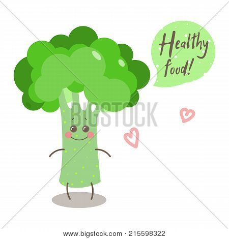Cute happy smiling broccoli with words
