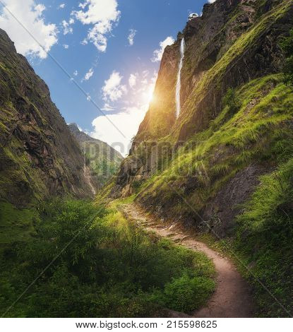 View With Amazing Himalayan Mountains With Waterfall