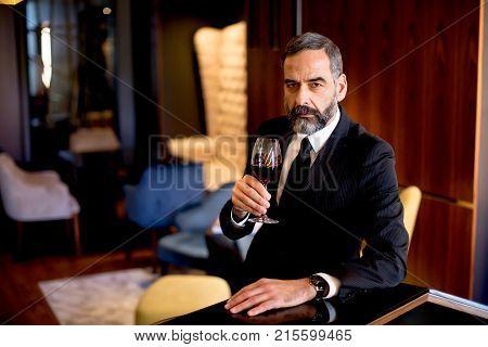 Handsome Elegant Businessman Drinking Red Wine