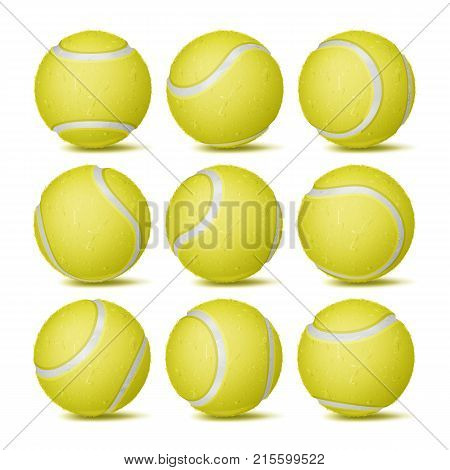 Realistic Tennis Ball Set Vector. Classic Round Yellow Ball. Different Views. Sport Game Symbol. Isolated