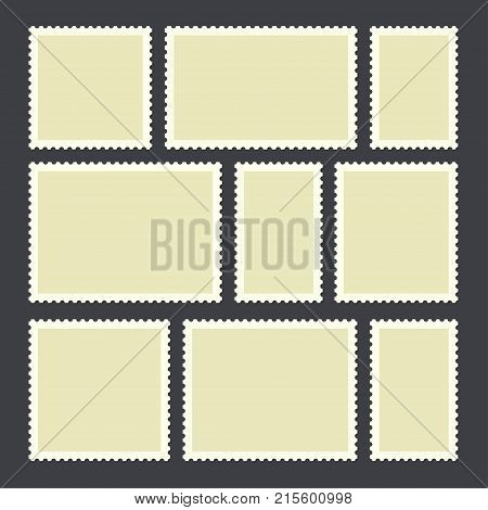 Blank postage stamp.Toothed border mailing postal sticker template in different size. Vector flat style cartoon illustration isolated on dark background