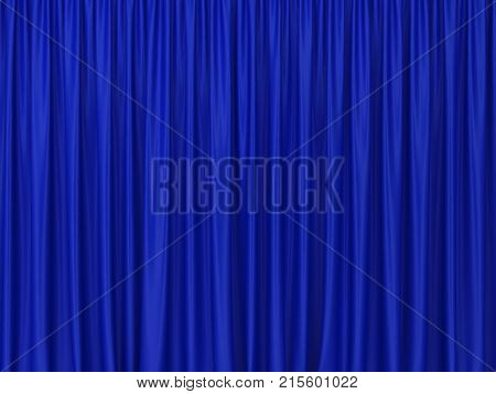 Theater blue curtains. 3d background for design