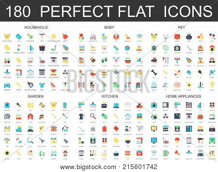 180 modern flat icons set of household, baby, pet, garden, kitchen, home appliances icons
