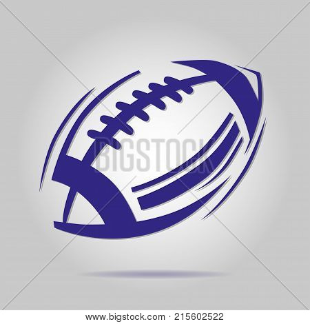 American blue football ball icon on a gray background