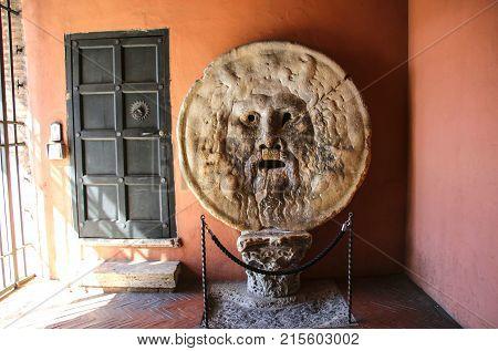 The Mouth of Truth (Bocca della Verita) Church of Santa Maria in Cosmedin in Rome Italy