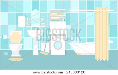 Bathroom interior illustration. Toilet and bathtub, sink and washing machine.