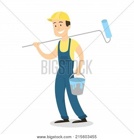 Isolated painter man with paintroller in uniform on white background.