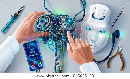Man repairing robot. Scientist engineer designs brain settings artificial intelligence humanoid robot. Robot head on your desktop. Hands of the scientist in white coat program cybernetic brain.