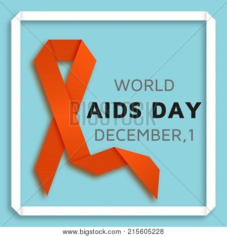 World AIDS day background with red ribbon. Vector illustration