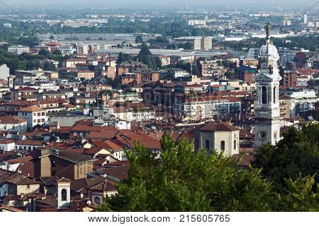 BERGAMO, ITALY - JUNE 11, 2017: Aerial view to Citta Bassa, the Lower City, which is a lively financial centre of national importance. About a quarter of Italy's GDP is produced in Bergamo's area