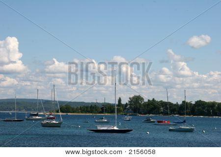 Bliss Bay Sailboats On Lake Michigan